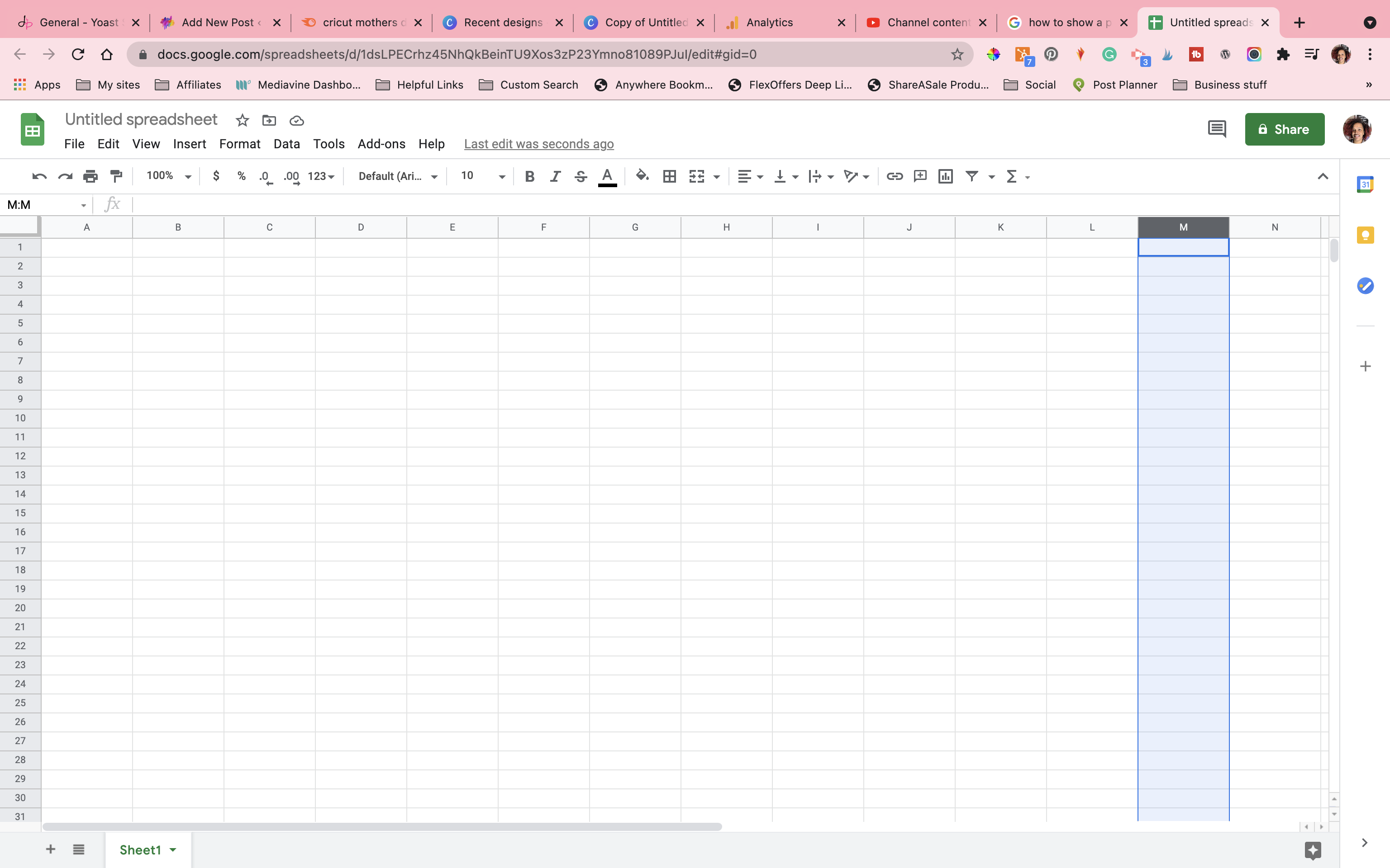 Opening a new google sheet. In this example, I am using 14 columns and 13 rows.