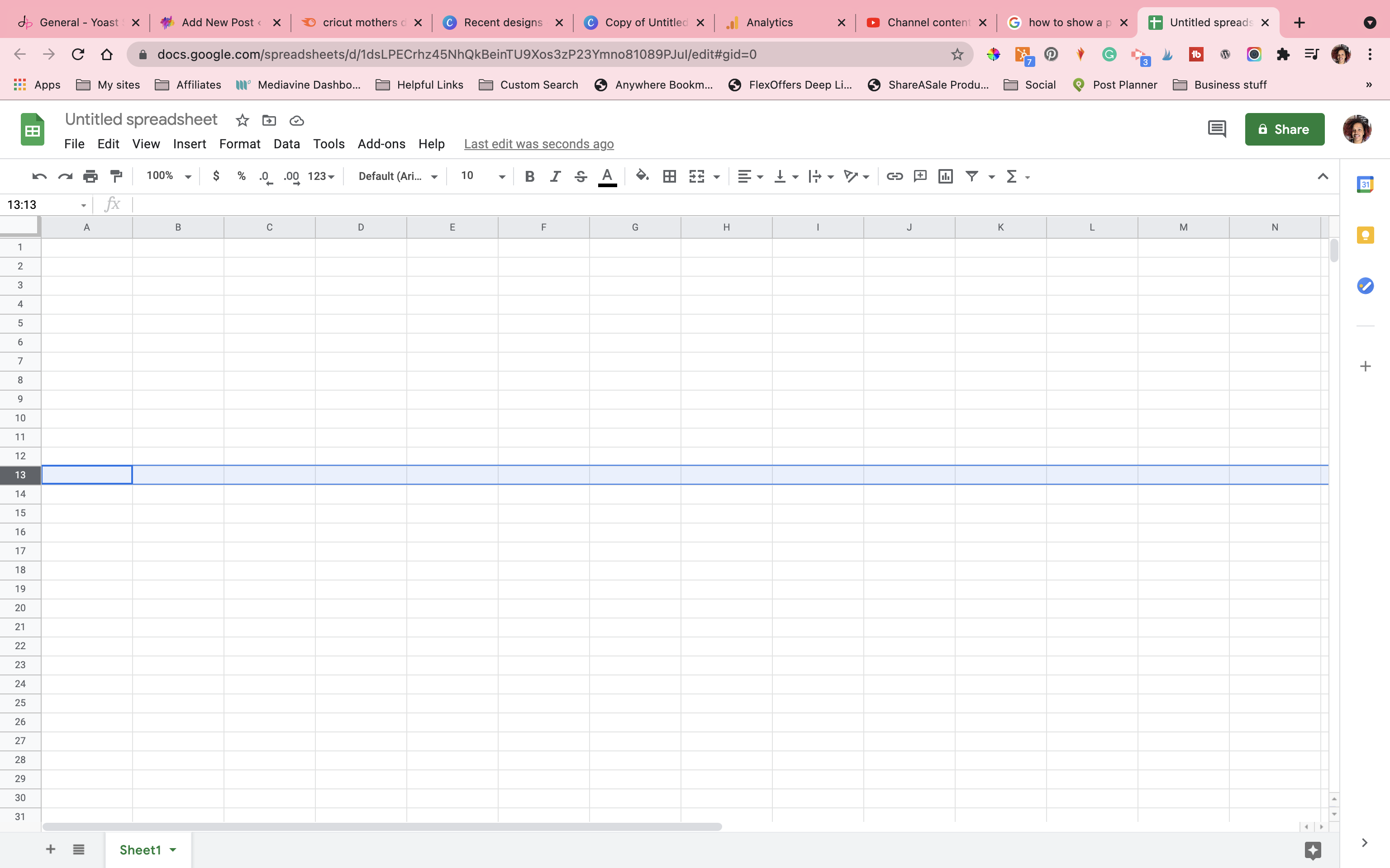 google sheet with row 13 selected