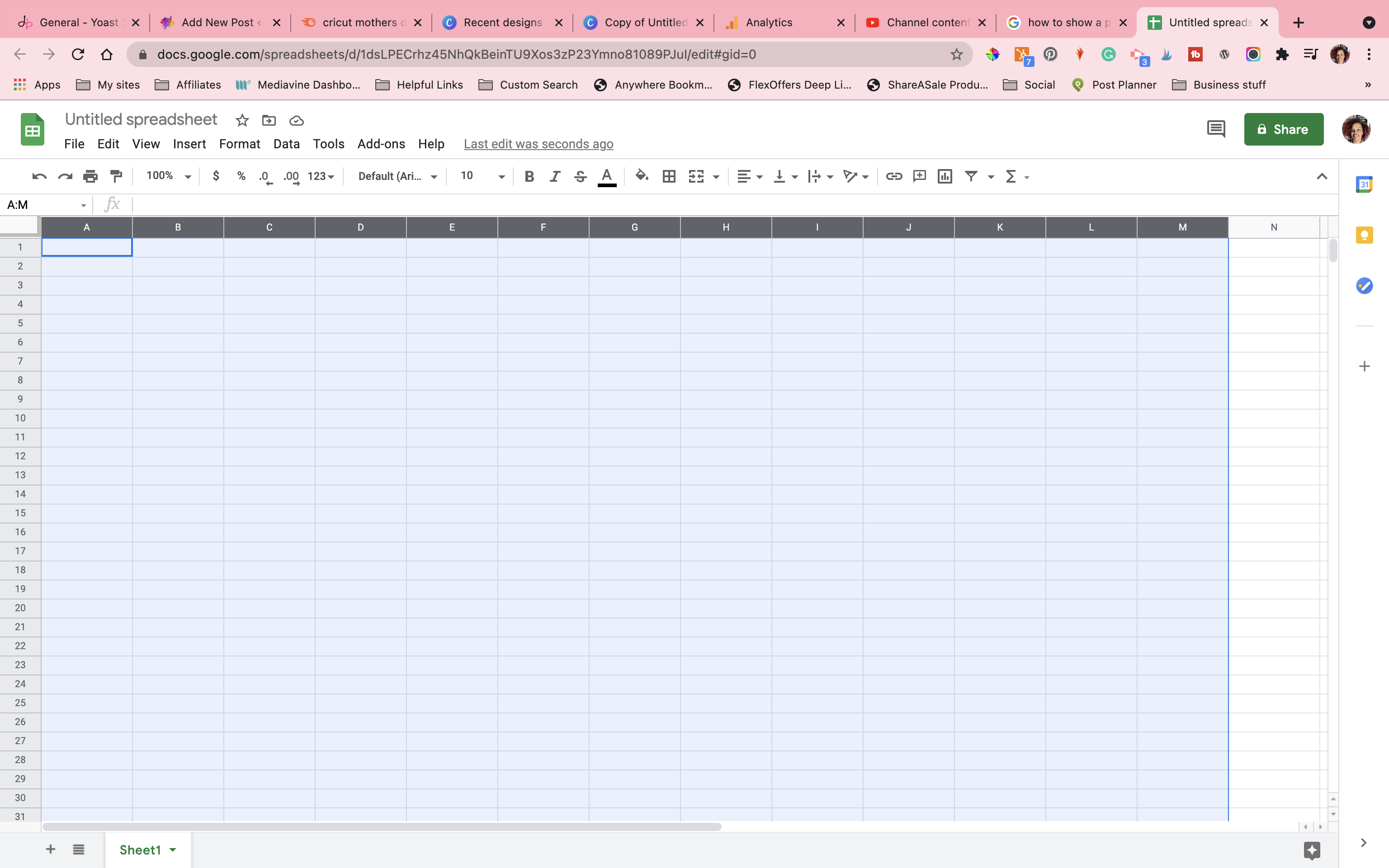 google sheet for diy word search with all rows and columns selected