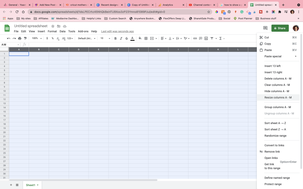 showing the drop down in google sheets to resize columns for diy word search
