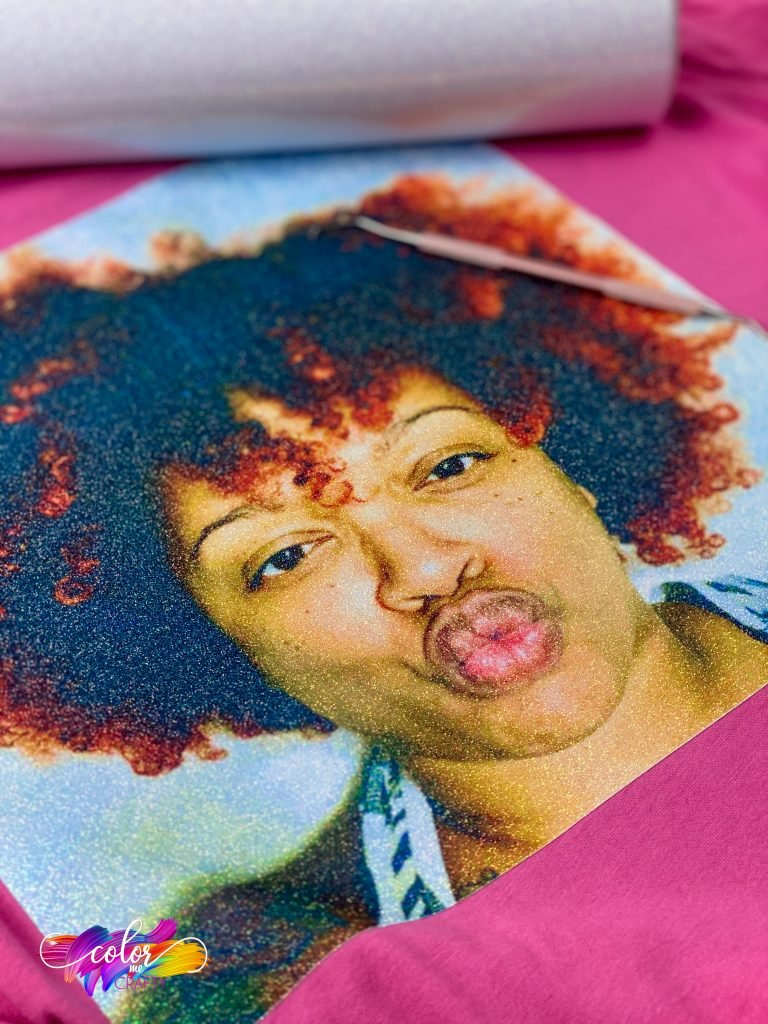 image of Jamela by pink on a sublimation shirt that is cotton and sublimated on glitter
