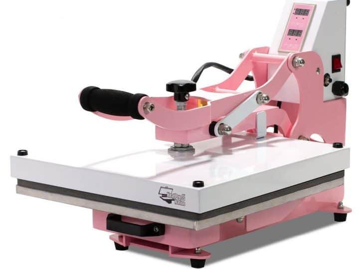 "closed HeatPressNation CraftPro 15"" x 15"" High Pressure Crafting Transfer Machine : Pink"