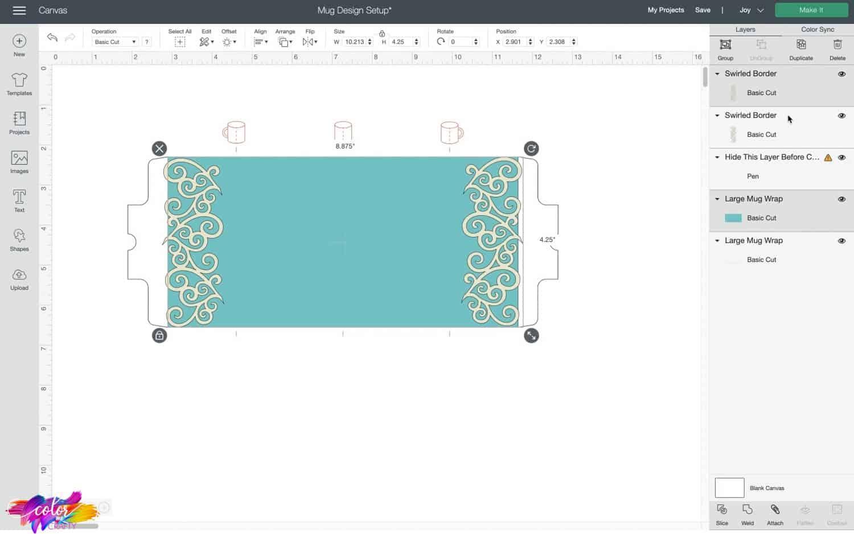 slicing images for mug design