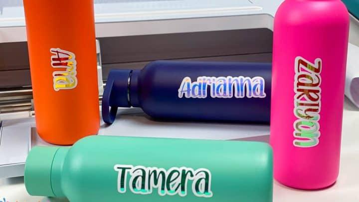 water bottles with vinyl name decals