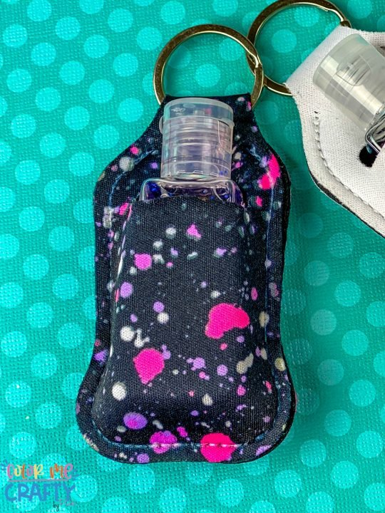 hand sanitizer pouch close up made with cricut infusible ink