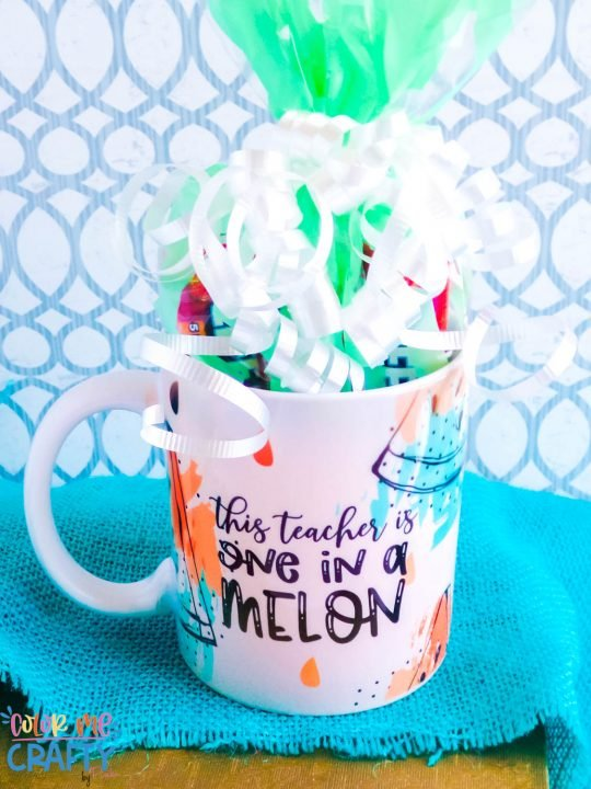 mug wrapped as a gift and says one in a melon in pinks and teals with black words on a teal