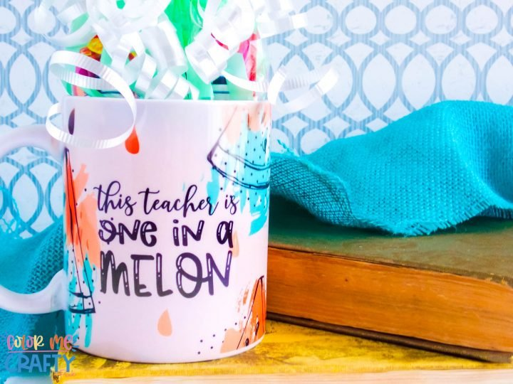 mug wrapped as a gift and says one in a melon in pinks and teals with black words on a teal background