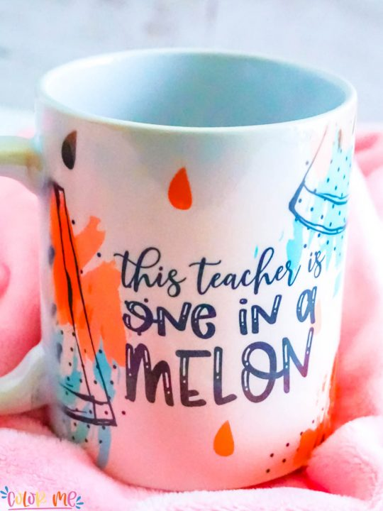 sublimation coffee mug that is sitting and says one in a melon in pinks and teals with black words on a pink background