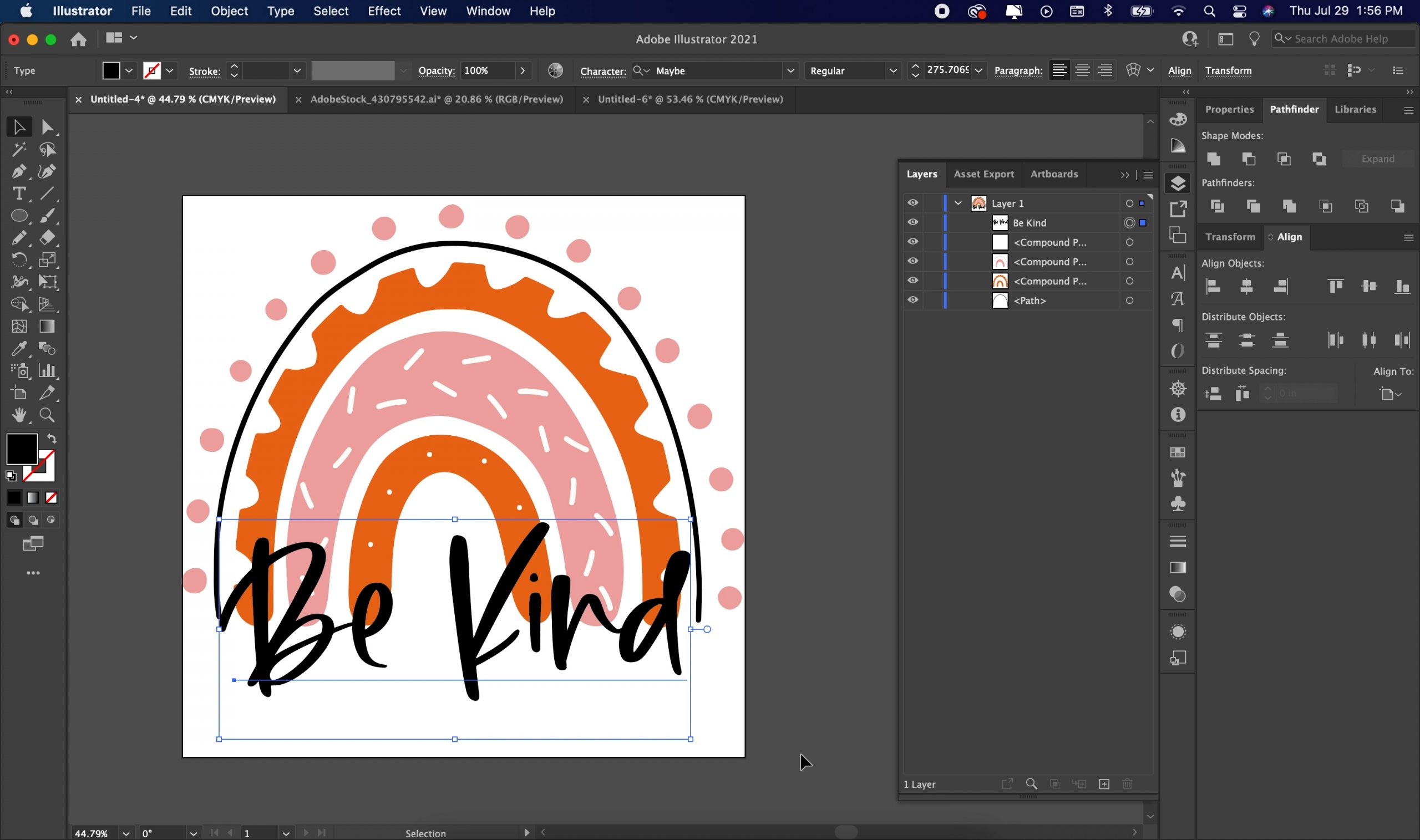 adjusting the design in illustrator