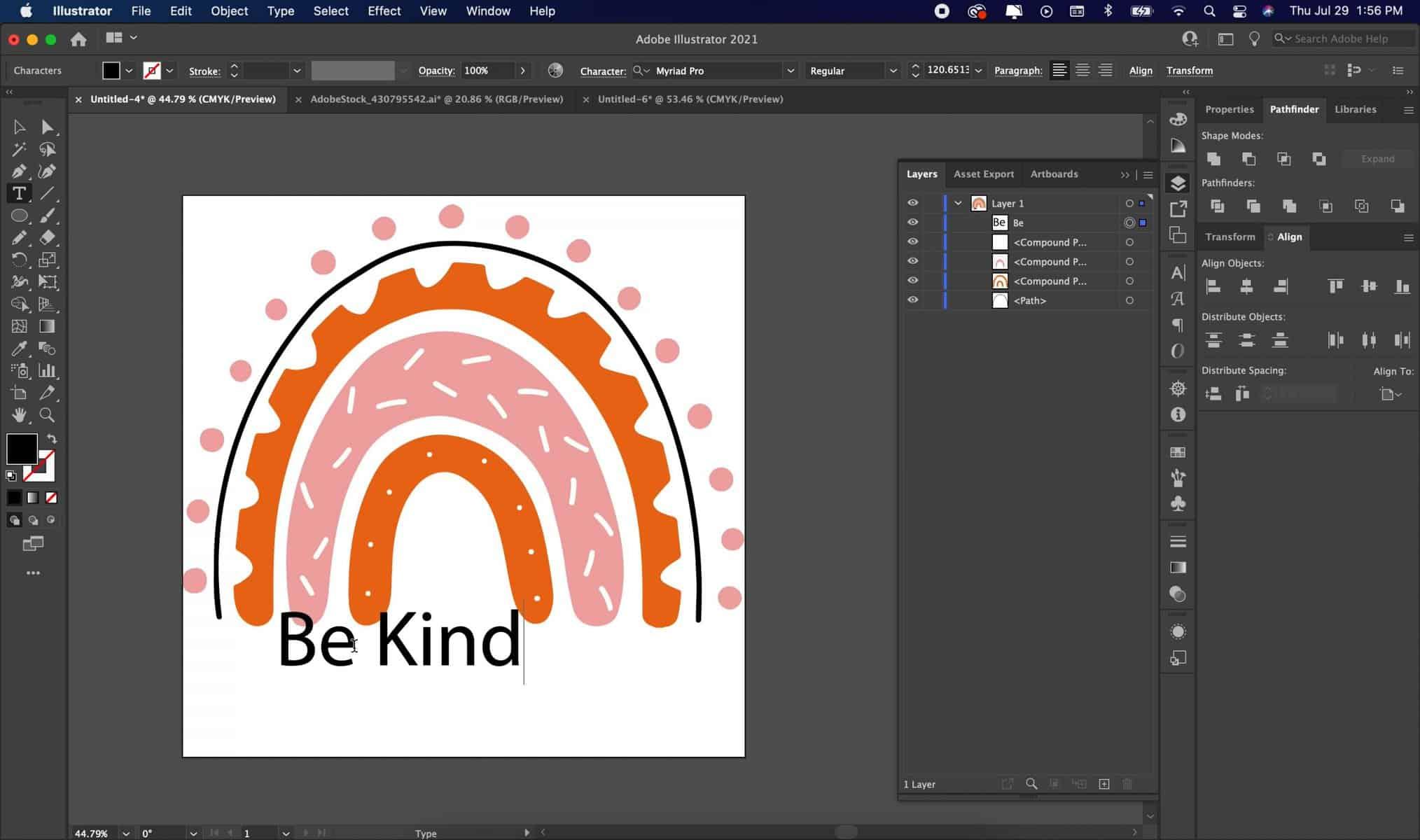 screenshot of adobe illustrator typing text to make an SVG