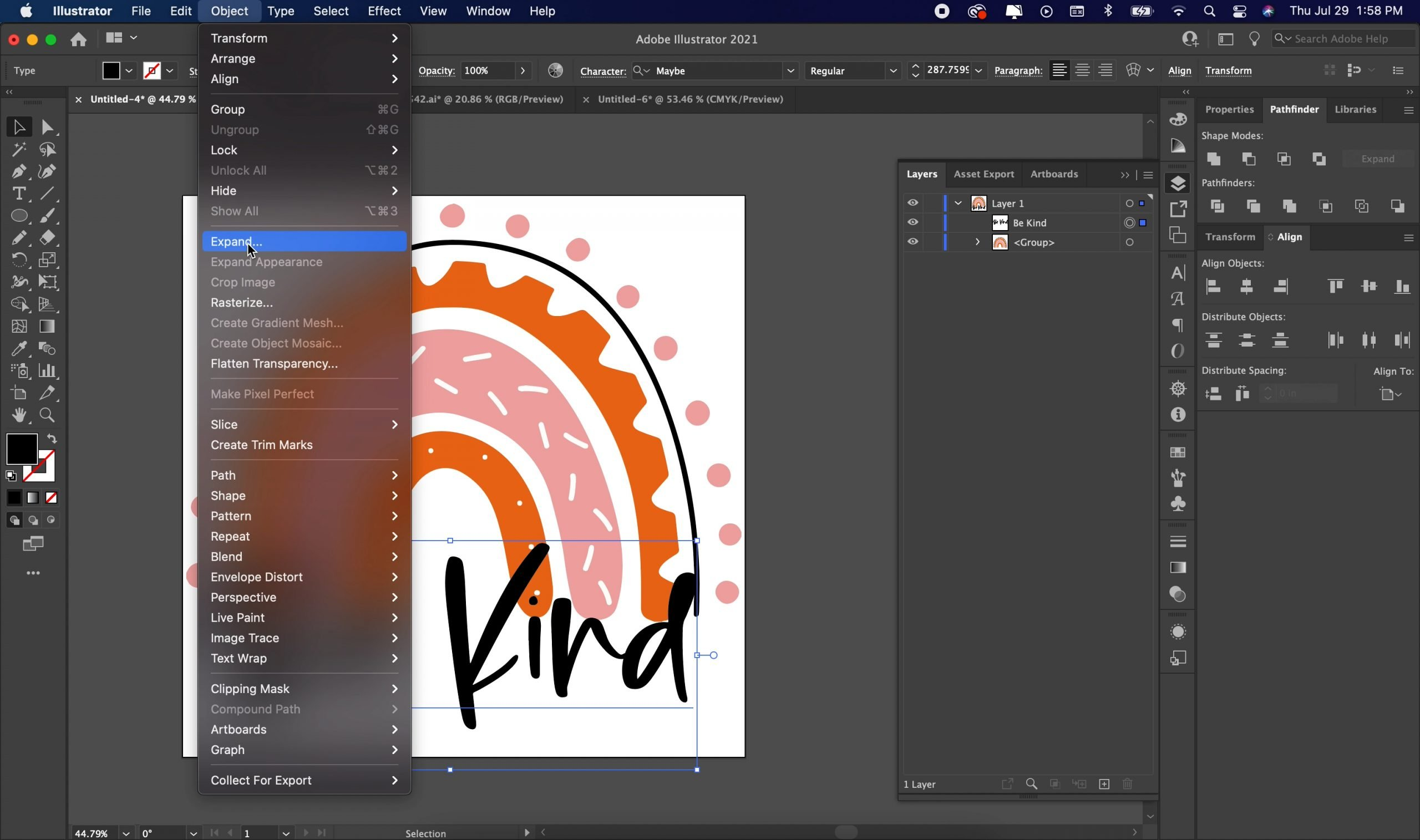 expanding text in illustrator