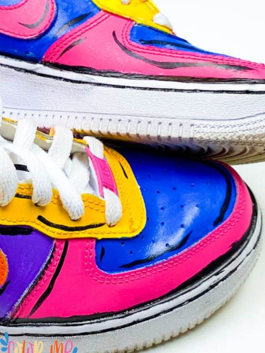 close up of acrylic painted shoes