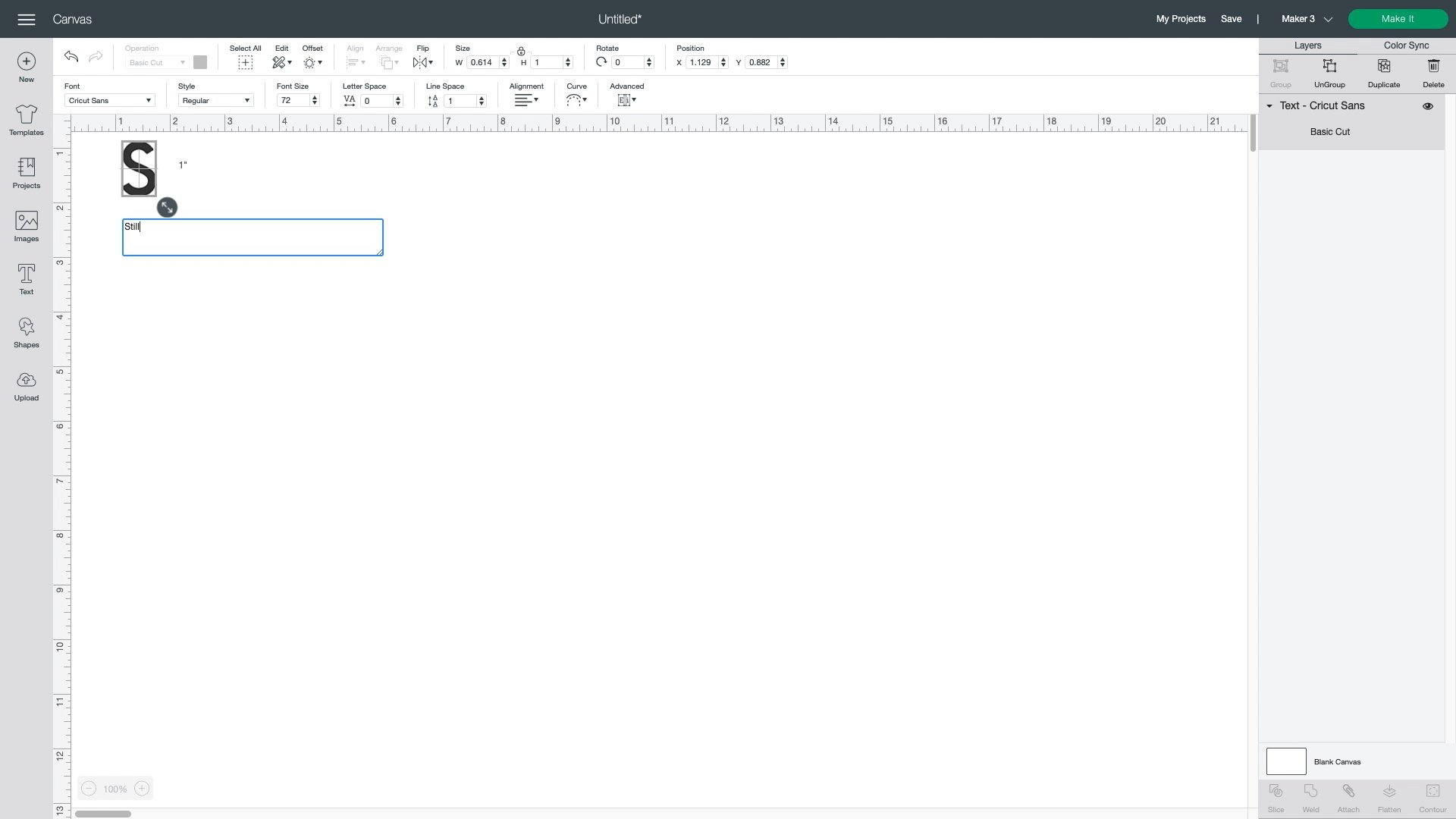 typing text in cricut design space