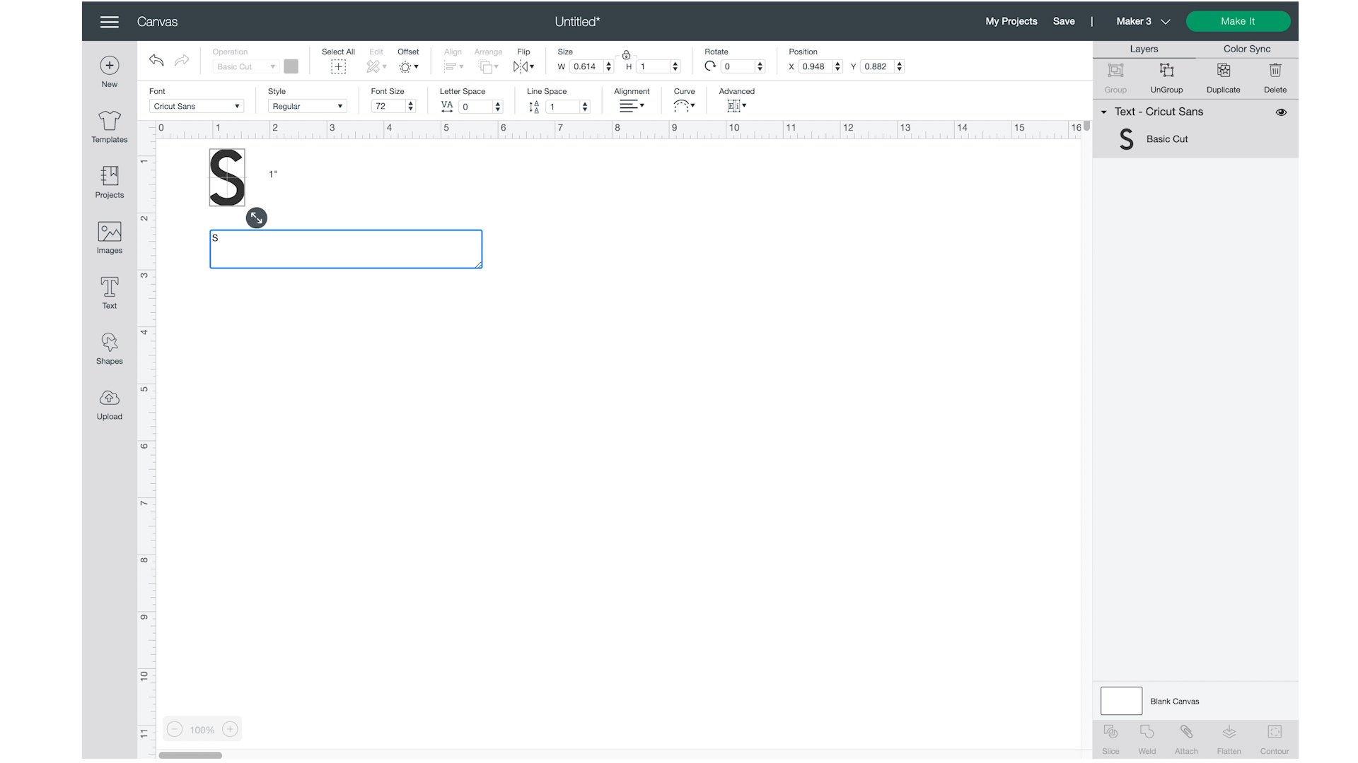 Cricut Design space typing text