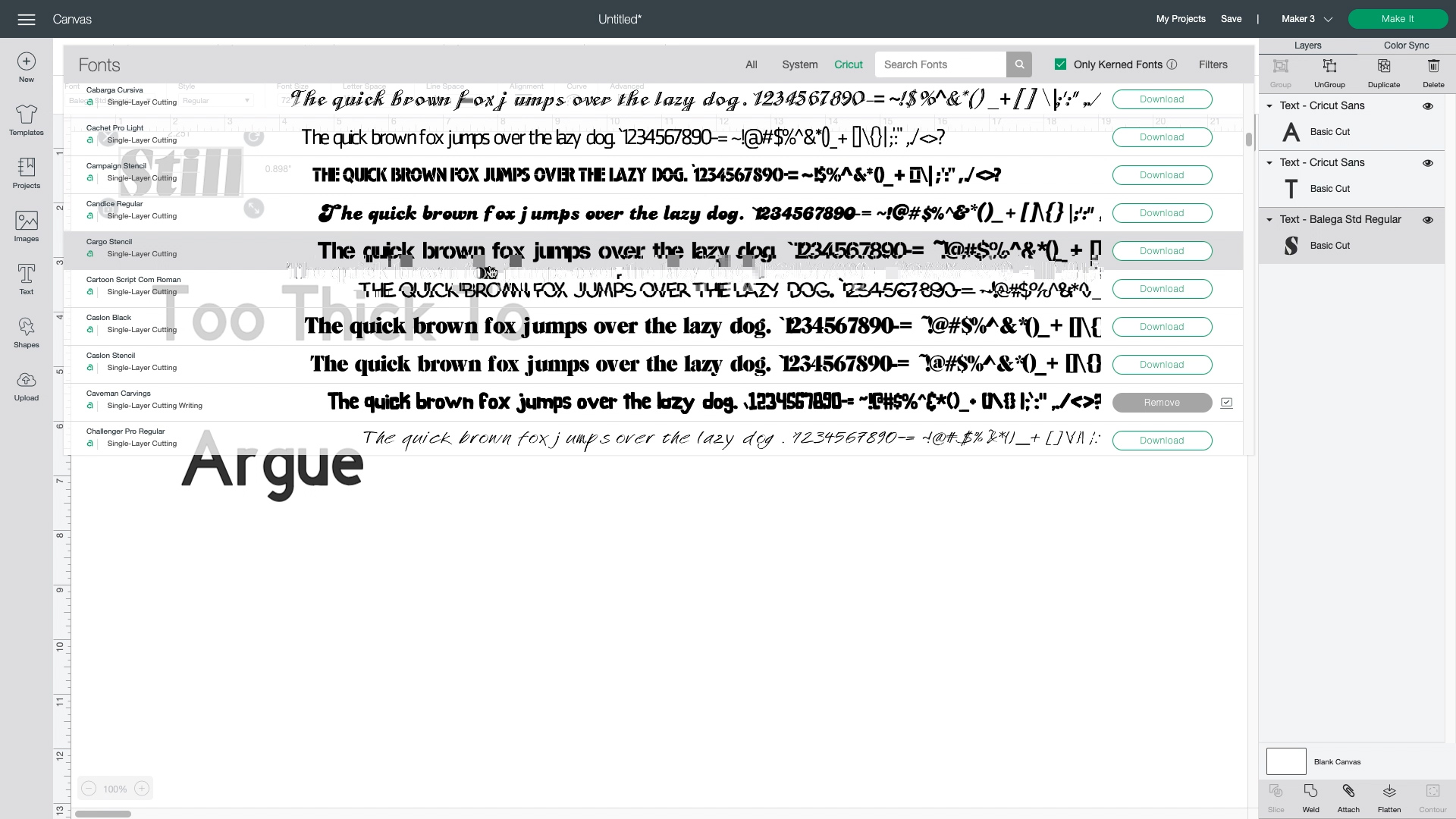 choosing a font in design space