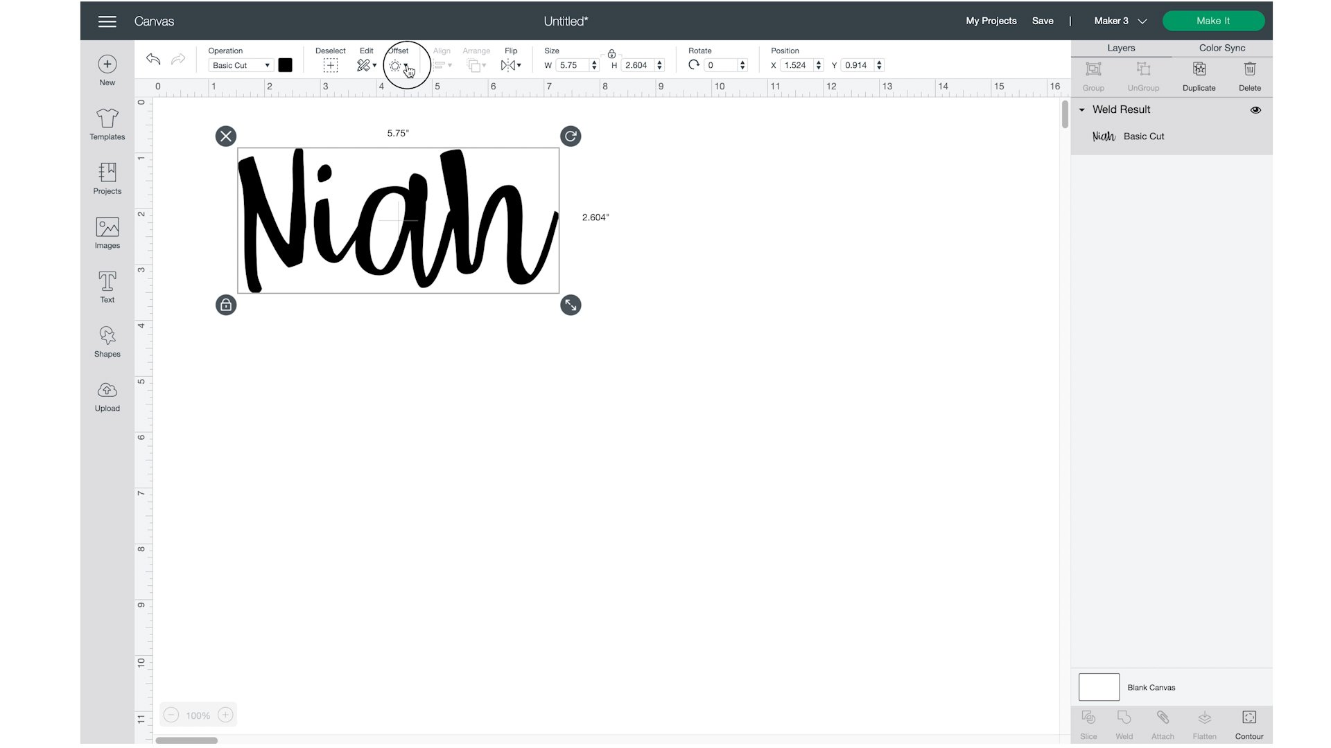 clicking the offset in cricut design space