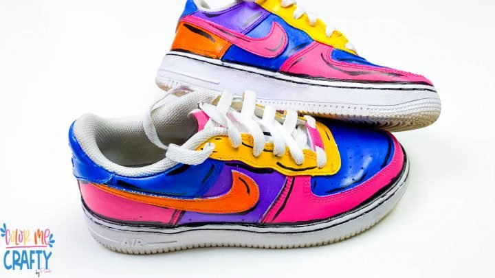 close up of finished acrylic painted shoes
