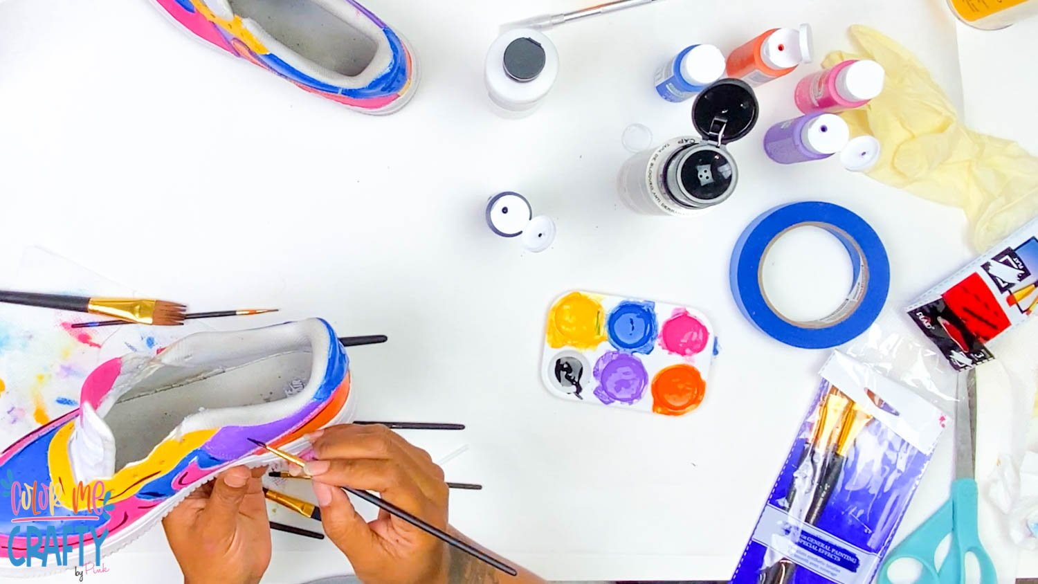 painting shoes with acrylic paint