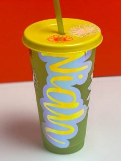 cup with multi-color vinyl decal