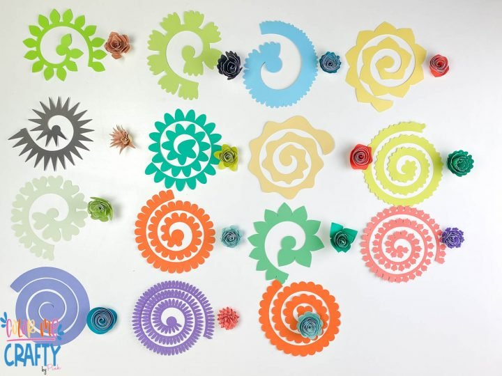 15 paper flowers on a white background