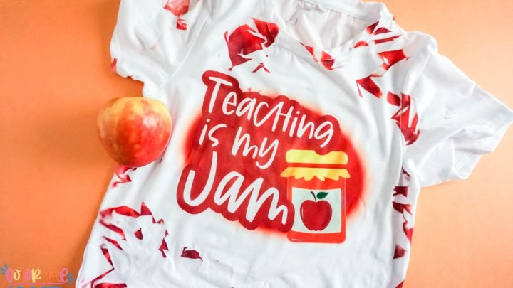 tie dye sublimation shirt in red with words teaching is my jam