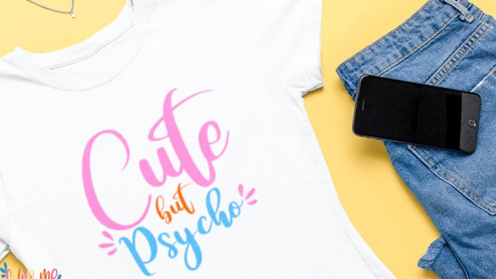 cute but psycho white tshirt on yellow background