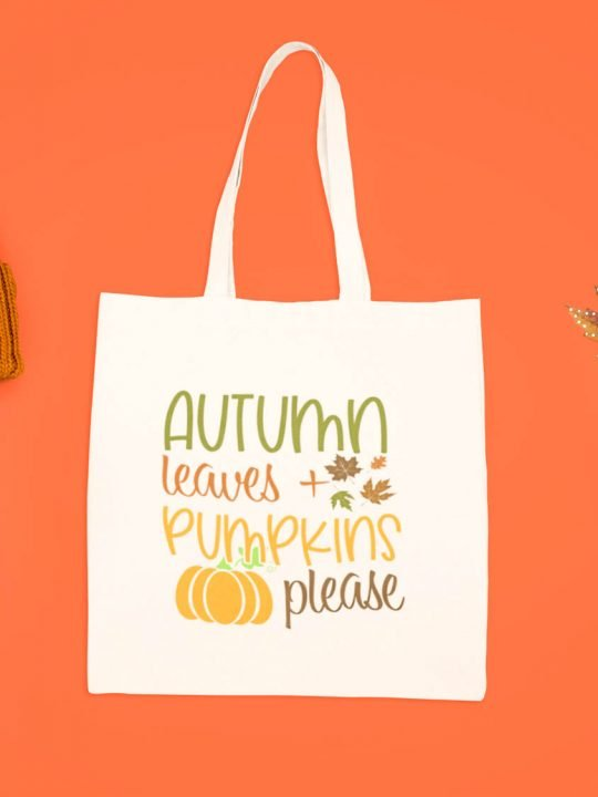 tote bag mock up with autumn leaves and pumpkins please on it