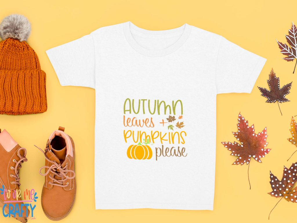 tshirt bag mock up with autumn leaves and pumpkins please on it