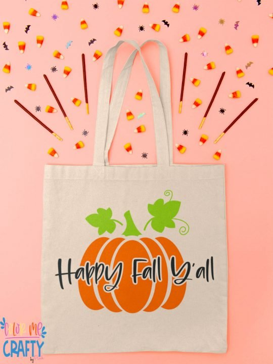 happy fall yall svg file on a tote bag