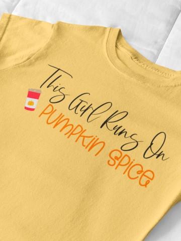 this girl runs on pumpkin spice SVG files on yellow shirt