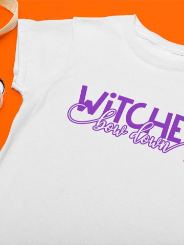Witches Bow Down Free SVG For Cricut on a white shirt