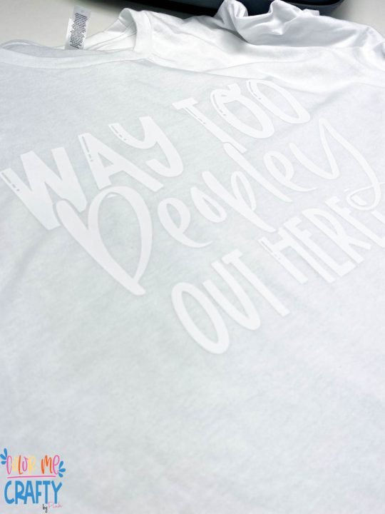 white shirt with uv sensitive htv before it has hit the uv light