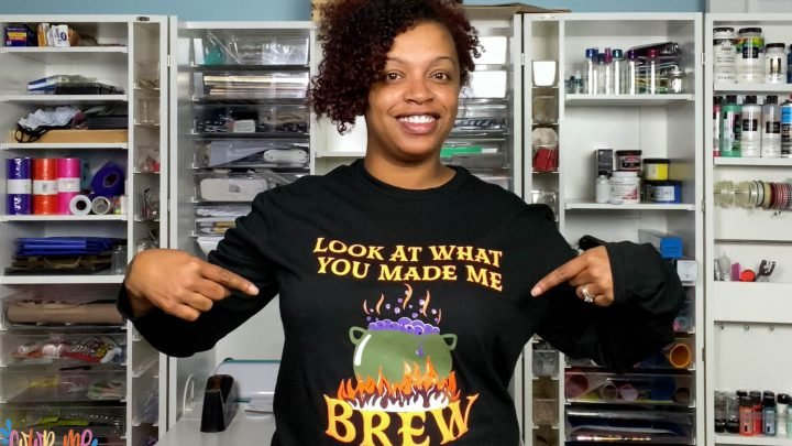 Jamela Payne in a layered Look at what you made me brew shirt