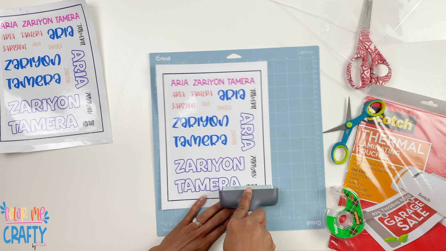 Place the sticker sheet onto the blue sticky mat. Use the brayer tool to secure