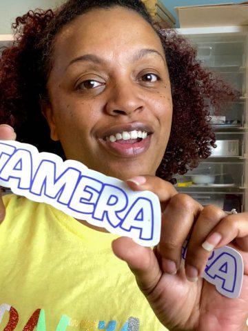 jamela payne showing waterproof sticker
