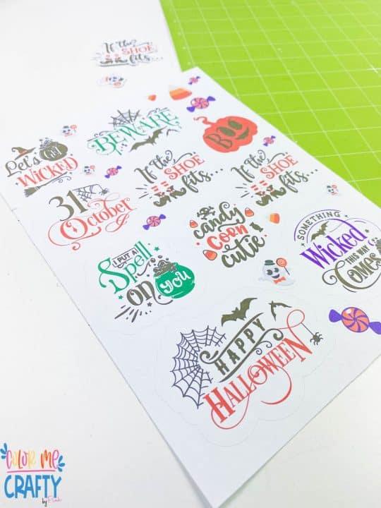 sheet of kiss cut stickers