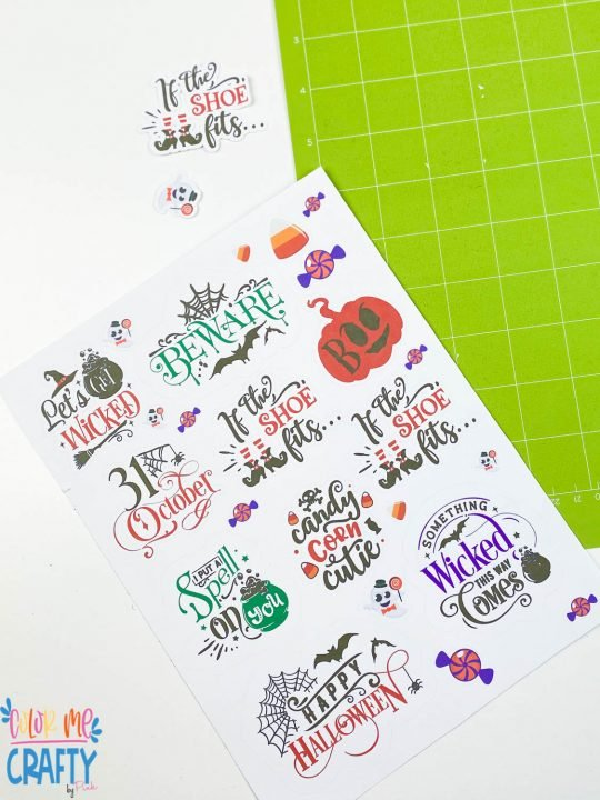 kiss cut stickers on a sheet that were cut with the cricut