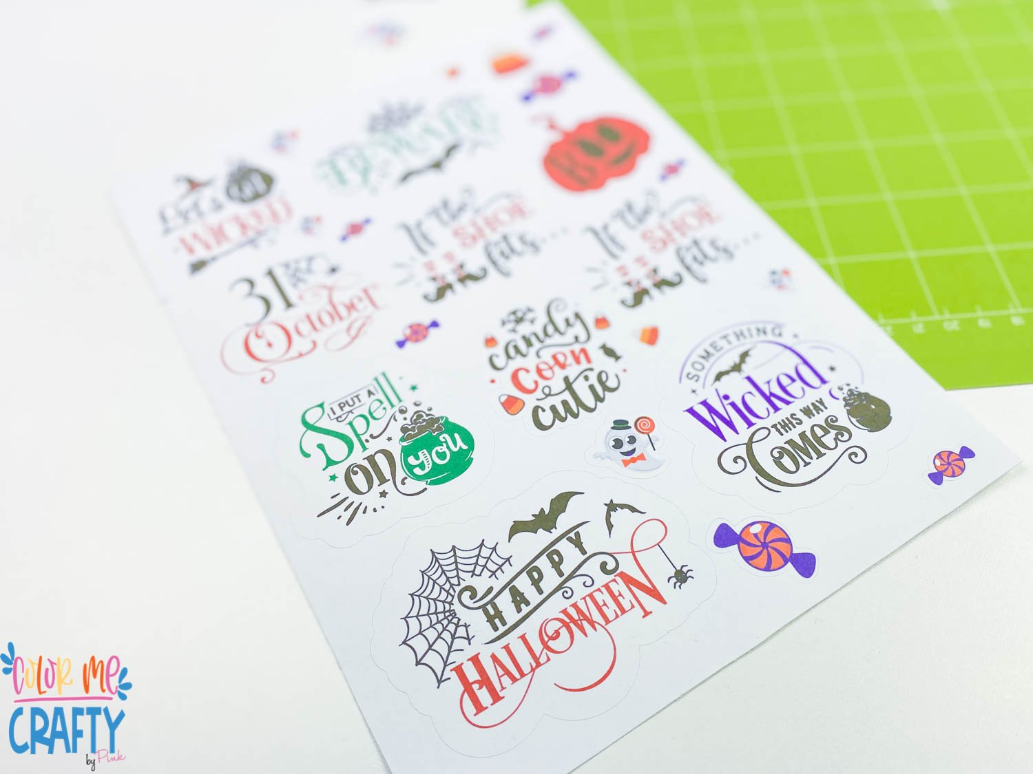 sheet of kiss cut stickers made with the cricut
