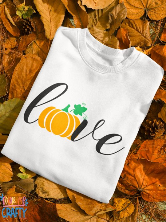 word love on a shirt and the o is a pumpkin