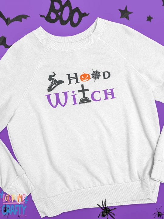 hood witch svg on a purple background