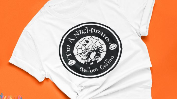 white shirt with the nightmare before christmas free svg orange background