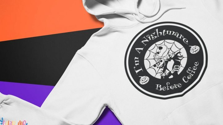 white hoodie with the nightmare before christmas free svg orange, black and purple background
