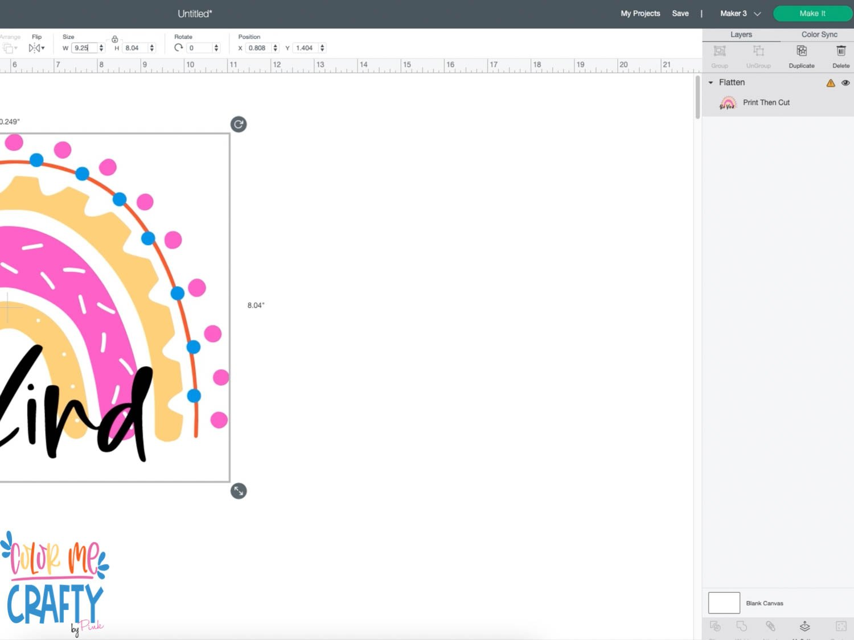 clicking make it in cricut design space